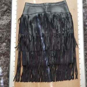 Bcbgmaxazria leather and tweed skirt